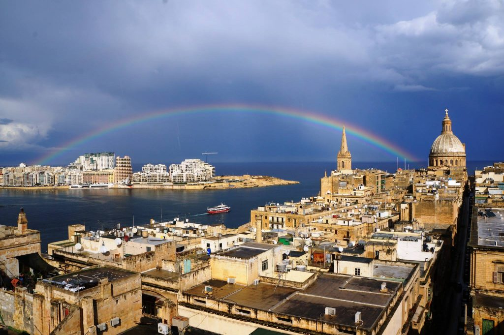 Rainbow above Sliema and Valletta view