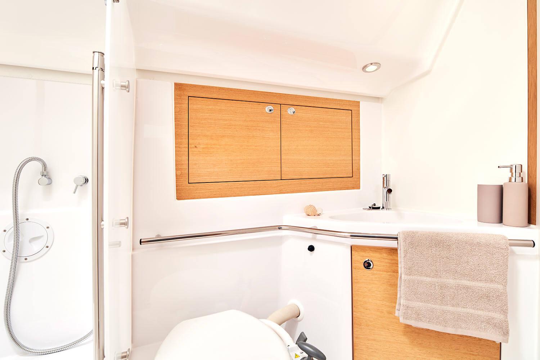 Bathroom of the sailing yacht