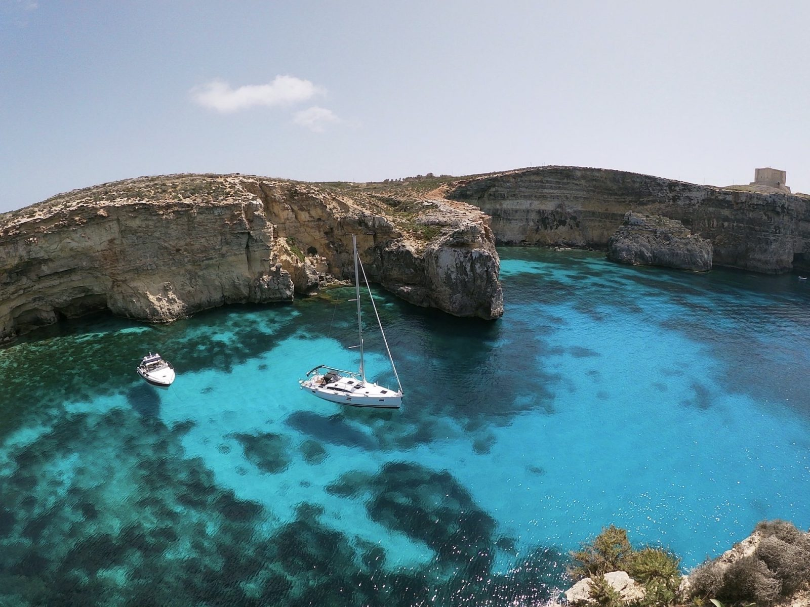 Yachts in Crystal Lagoon of Comino