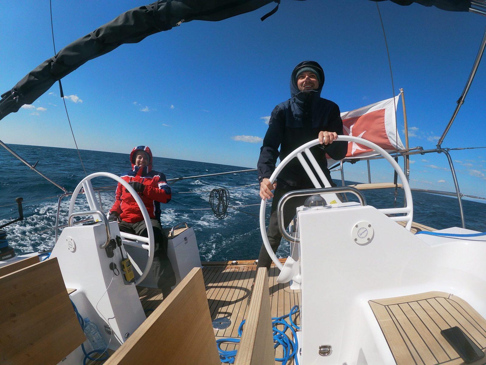 Evgheni and Jean are skippering the sailing yacht Mowgli to Malta.
