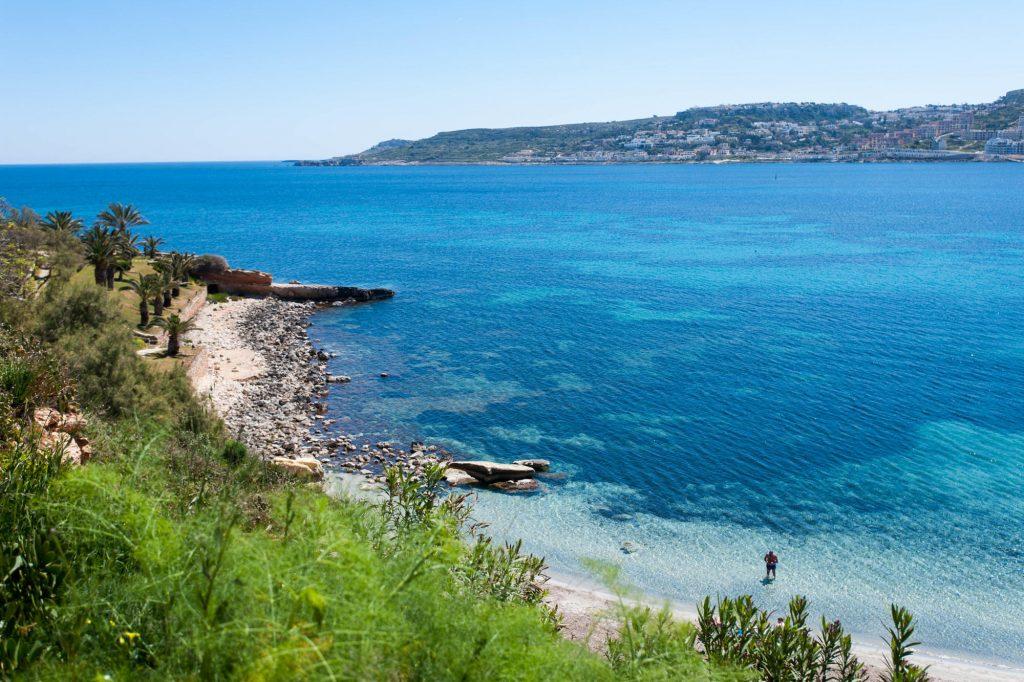 The view of Mellieha Bay Malta