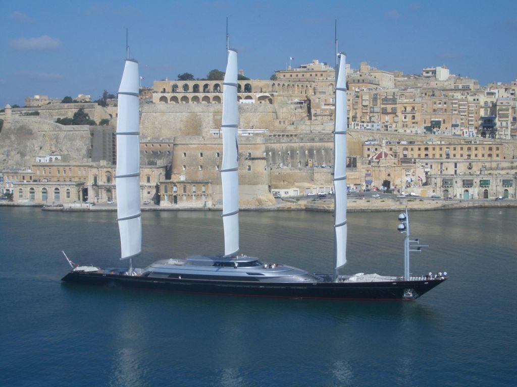The Maltese Falcon superyacht exiting Valletta Gran harbour